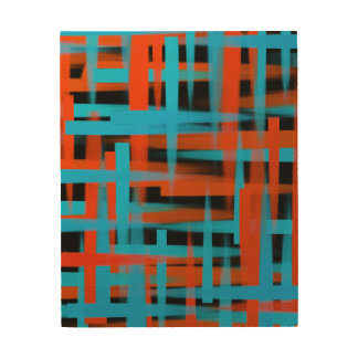Abstract oil brush strokes in orange and blue wood print