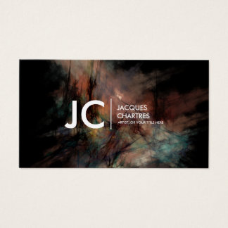 Abstract Oil Painting Professional Monogram Dark Business Card
