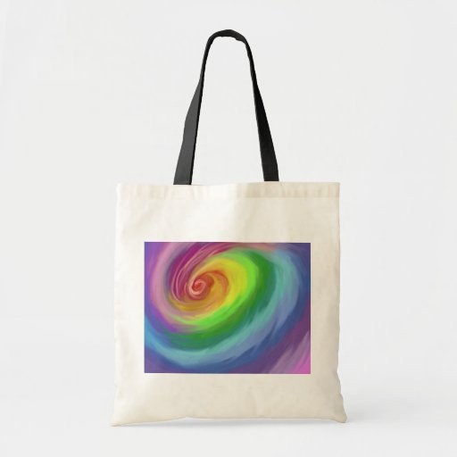 Abstract Oil painting rainbow swirl tote bag