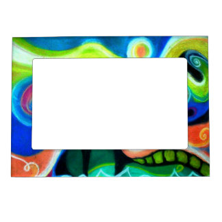 Abstract Oil Pastel Magnetic Picture Frame