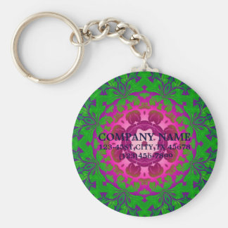 abstract ombre Fuschia green damask Keychains