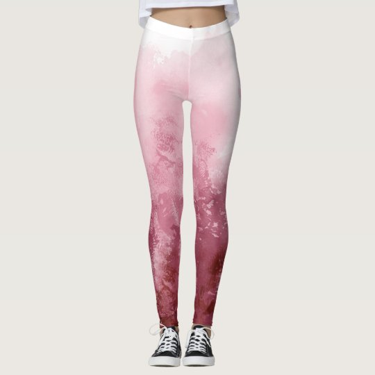 Abstract Ombre watercolor painted Leggings