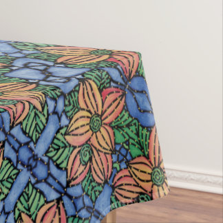 Abstract Orange And Blue Floral Pattern Tablecloth