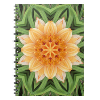 Abstract Orange and Green Flower Kaleidoscope Notebook