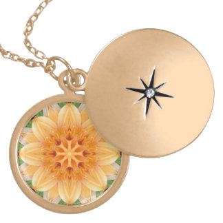 Abstract Orange and Green Kaleidoscope Flower Locket Necklace