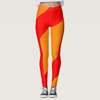 abstract Orange and red legging