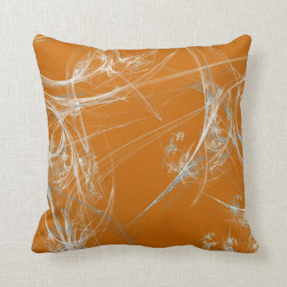Abstract Orange and White Fractal Pillow