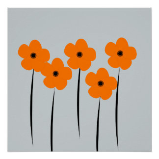Abstract Orange Anemones Flowers Poster