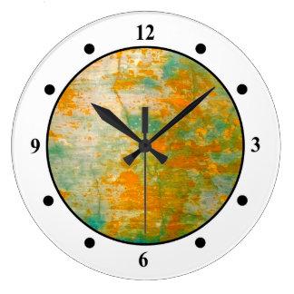 Abstract Orange & Blue Rustic Painting Clocks