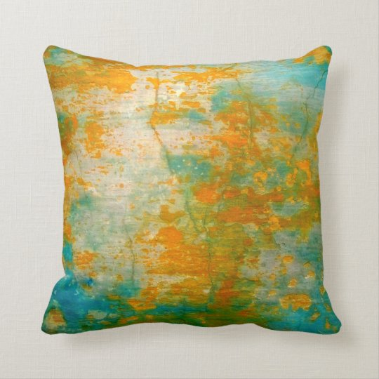 Abstract Orange & Blue Rustic Painting Cushion