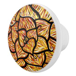 Abstract Orange Flower Ceramic Knob