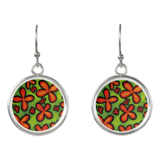 Abstract Orange Flower Earrings