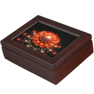 abstract orange flower keepsake box