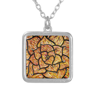 Abstract Orange Flower Silver Plated Necklace