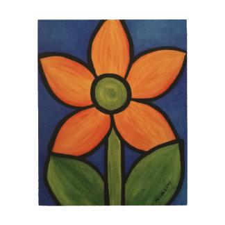 Abstract Orange Flower Wood Print