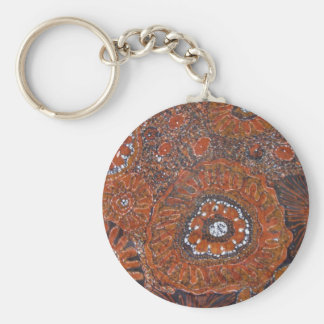 abstract orange flowers keychain