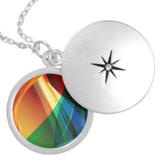 Abstract Orange Green Round Locket Necklace