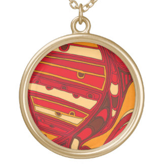 Abstract Orange Panels Gold Plated Necklace