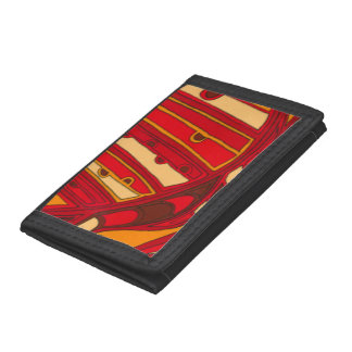 Abstract Orange Panels Tri-fold Wallets