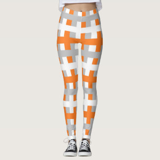 Abstract Orange, Silver and White Leggings