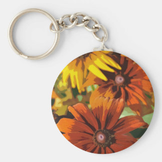Abstract orange summer flowers key chains