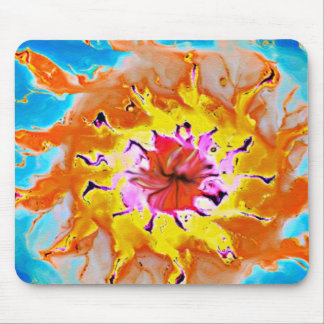 Abstract Orange Sun on a Light Blue Background Mouse Pad