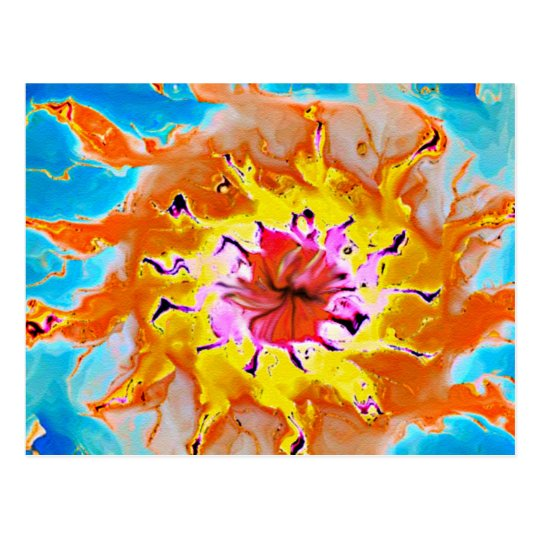 Abstract Orange Sun on a Light Blue Background Postcard
