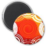 Abstract Orange Swirls Fridge Magnets