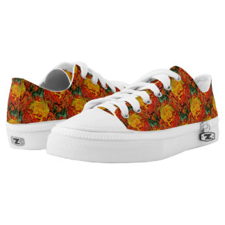 Abstract Orange Yellow Green Pattern Low Tops