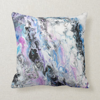 Abstract Original Painting Purple Blue Black Paint Cushion