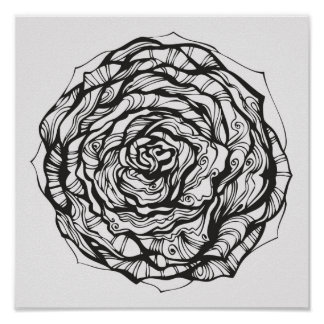 Abstract Ornamental Rose 2 Poster