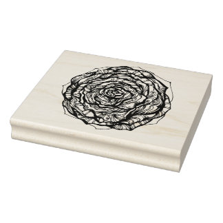 Abstract Ornamental Rose Rubber Stamp
