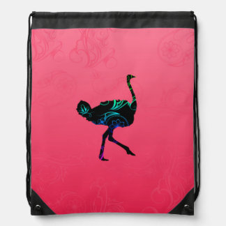 Abstract Ostrich Drawstring Backpack