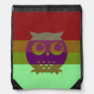 Abstract Owl Drawstring Backpack