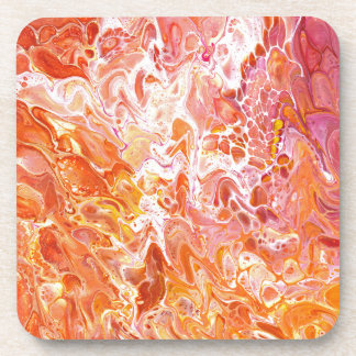 Abstract paint poured orange coaster