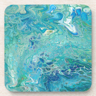 Abstract - paint pouring in turquoise coaster