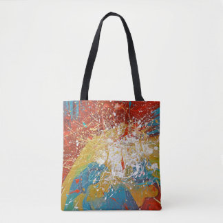 abstract paint splash tote bag