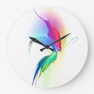 Abstract Paint Splatter Butterfly Large Clock