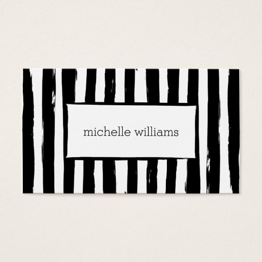Abstract Painted Black Stripes Business Card