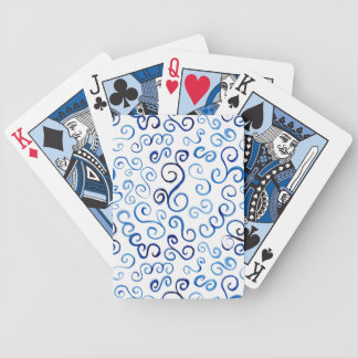 Abstract Painted Blue Curves Bicycle Playing Cards