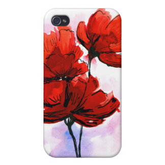 Abstract painted floral background 2 cover for iPhone 4