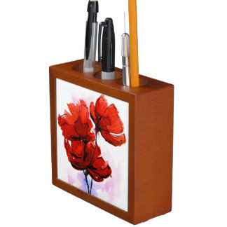 Abstract painted floral background 2 desk organiser