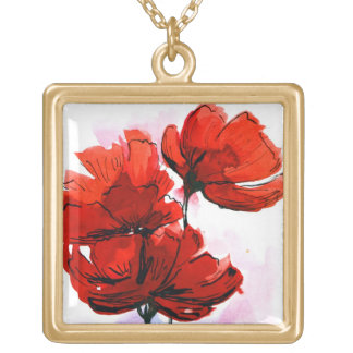 Abstract painted floral background 2 gold plated necklace