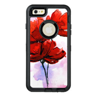 Abstract painted floral background 2 OtterBox defender iPhone case