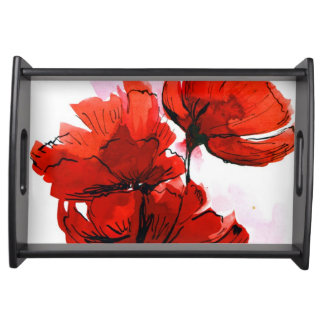 Abstract painted floral background 2 serving tray