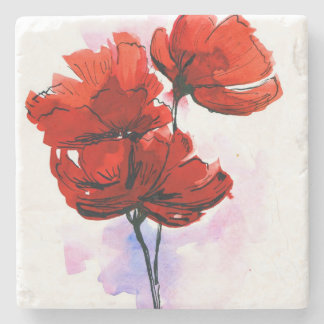 Abstract painted floral background 2 stone coaster