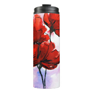 Abstract painted floral background 2 thermal tumbler