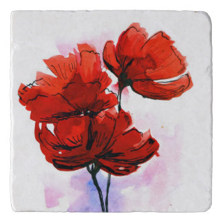 Abstract painted floral background 2 trivet