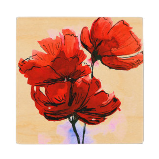 Abstract painted floral background 2 wood coaster