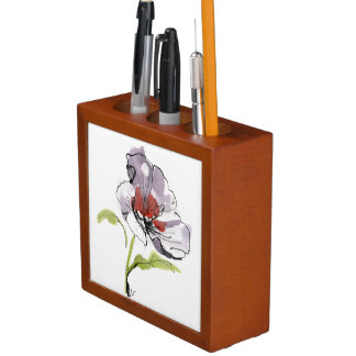 Abstract painted floral background 3 desk organiser